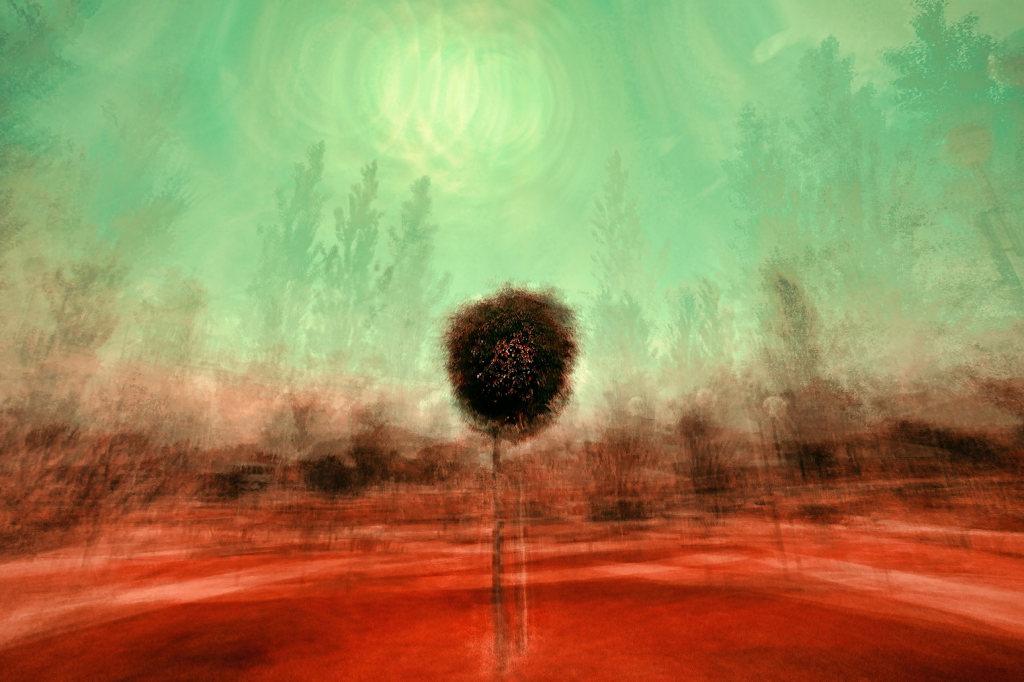 Imagen de un cuadro abstracto que representa un bosque