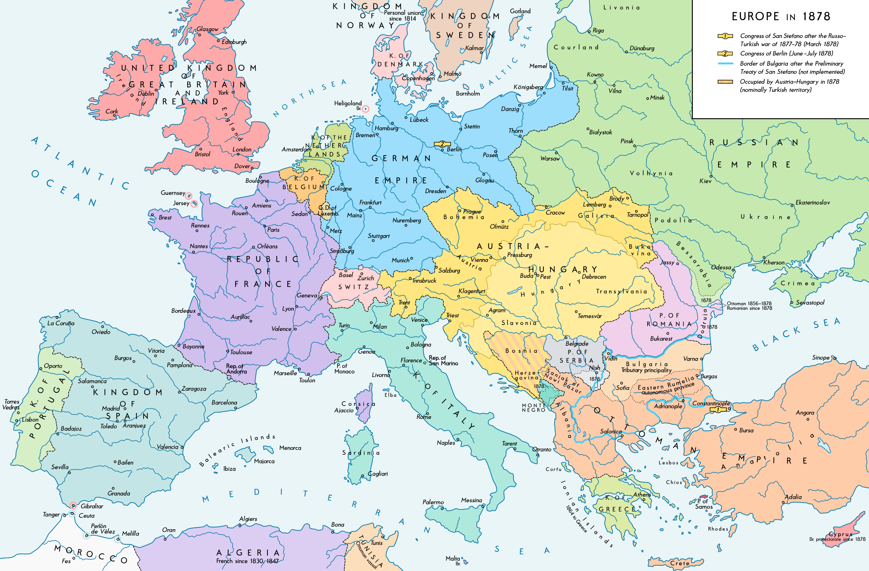 mapa de europa 1878